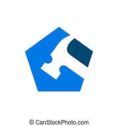 Renovation or repairment Logo, Hammer Tools and Pentagon Shape Logo Design, Vector Icon Illustration