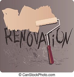 Painting roller covering a dark wall with fresh paint, vector illustration
