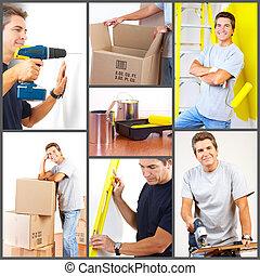 Renovation set. A man working at home