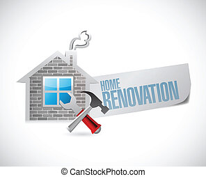 renovation til hjem, symbol, illustration, konstruktion