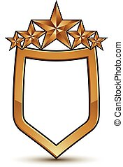 Renown vector emblem with five golden stars, 3d festive design shield element, clear EPS 8.