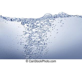 rense, blå vand, på hvide