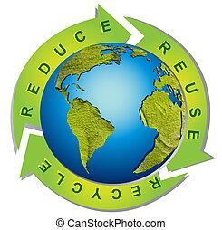 rense, miljø, -, begrebsmæssig, genbruge symbol