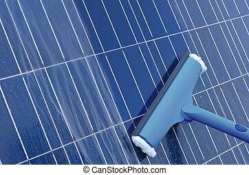 rensning, av, sol, paneler