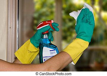 rensning, fönstren