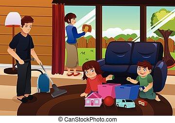 rensning, familj, hus