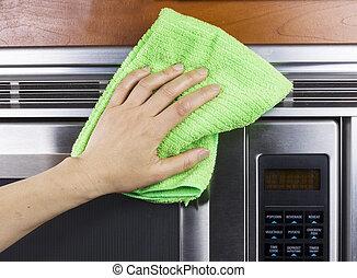rensning, fan, utlopp, mikrovågsugn, apparat, kök