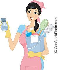 rensning, flicka