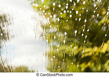 rensning, fluid, på, vindspejl