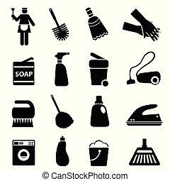 rensning forråd, og, redskaberne