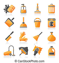 rensning, og, hygiejne, iconerne