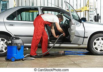 rensning, tjeneste, i, automobil, vakuum, rense