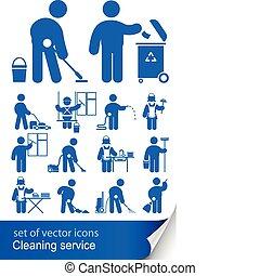 rensning, tjeneste, ikon