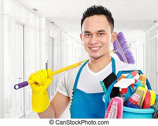 rensning, tjeneste, ind, kontoret