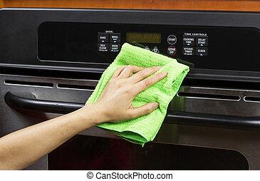 rensning, utlopp, röja, ugn, apparat, kök, elektrisk