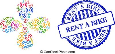 Rent a Bike Textured Seal Stamp and Air Cooler Rotation Multicolored Centrifugal Flower with 4 Petals