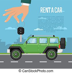 Rent a car concept with hand holding auto key - Rent a car...