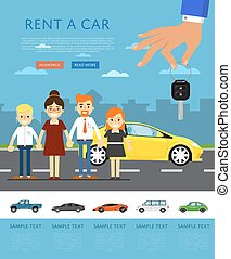 Rent a car concept with happy family