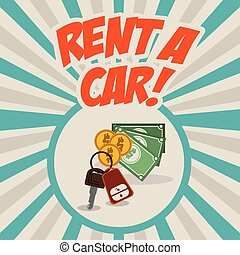 Rent a car design over striped background, vector...