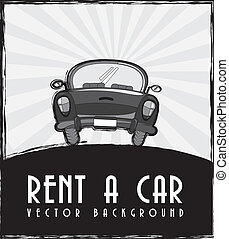 rent a car announcement, black and white. vector...