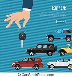 Rent a car poster with hand holding auto key