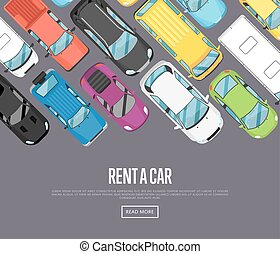 Rent a car poster with modern city cars