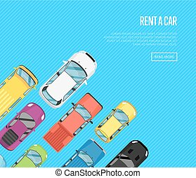 Rent a car poster with top view city cars