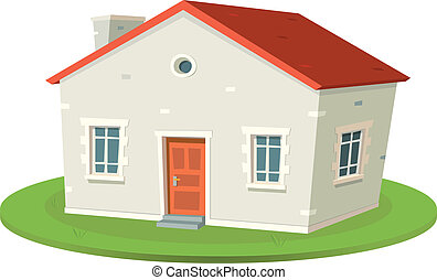 Rent-A-House - Illustration of a cartoon french styled built...