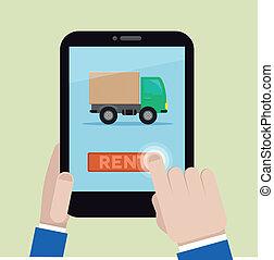 rent a truck - minimalistic illustration of renting a truck...