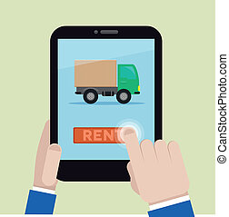rent a truck - minimalistic illustration of renting a truck...