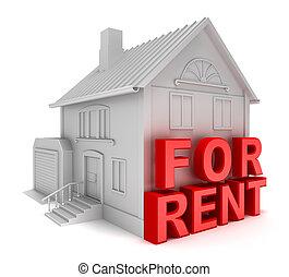 rent., casa, concetto, isolato, 3d