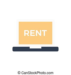 rent  flat color icon