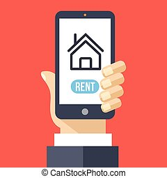 Rent house app on smartphone screen