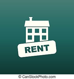 Rent house icon. Vector illustration in flat style on green background.