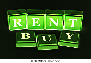 Rent or Buy? - Rent or Buy spelled out in colored blocks.