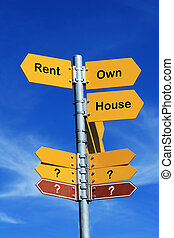 "Rent or Own House? - ""Rent or Own House?"" direction sign"