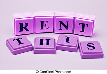 Rent This spelled out in colored blocks