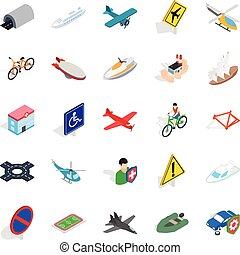 Rent transport icons set, isometric style