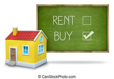 Rent vs buy concept on blackboard - Rent vs buy concept text...