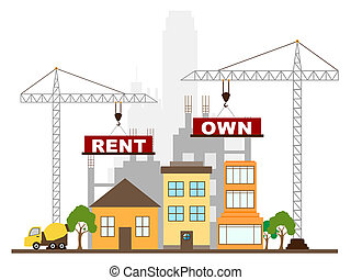 Rent Vs Own Buildings Contrasting Property Purchase And Leasing. Compares Best Way To Live In A House Or Invest - 3d Illustration