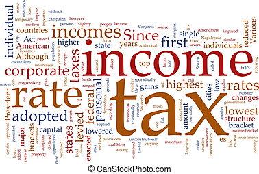 renta de impuesto, palabra, nube