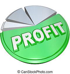 renta, ganancia, gráfico, pastel, contra, dividir, costes, ganancias