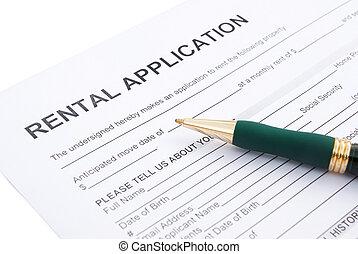 rental agreement close up