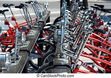 Rental bicycles parked, Zaragoza, Spain.