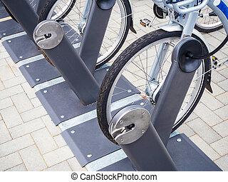 Rental bicycles parking in Berlin