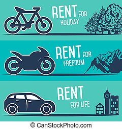 Rental car and other transport banners. - Rent a cars, bike...