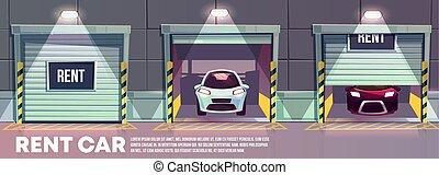 Rental car service cartoon vector concept