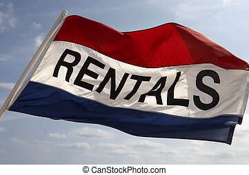 Rental flag flying in breeze on south beach fort Lauderdale,...