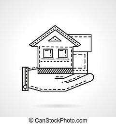 Rental house line vector icon