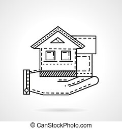 Rental house line vector icon